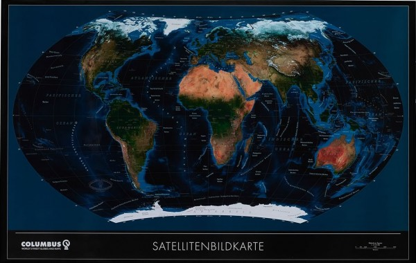 Columbus Weltkarte Satellit OID kompatibel mit Edelstahlleisten