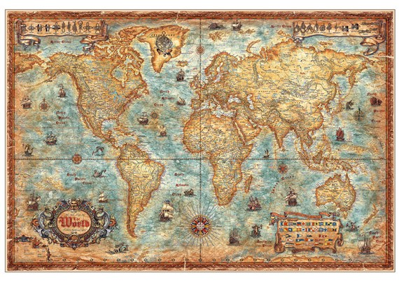 Ray & Co. Modern World Antique Map, laminierte Version