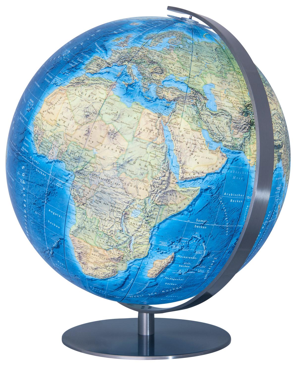 34 cm Farbwechsellampe mit Fernbedienung Meridian und Fu/ß Chrom Columbus Leuchtglobus Artline: schwarzer Design-Globus