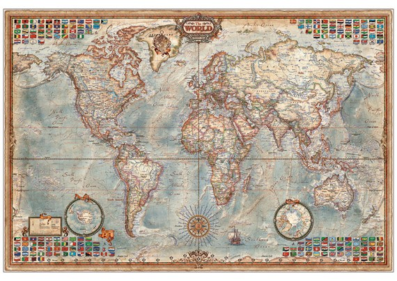 Ray & Co Executive World Map 136 x 92 cm laminated